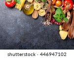 italian food cooking. tomatoes  ... | Shutterstock . vector #446947102