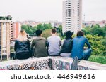 group of young multiethnic... | Shutterstock . vector #446949616
