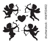 black silhouette of a cupids.... | Shutterstock .eps vector #446953402