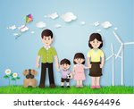 happy family having fun in the... | Shutterstock .eps vector #446964496