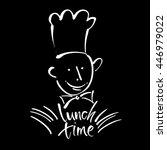 chef cook with handwritten... | Shutterstock .eps vector #446979022