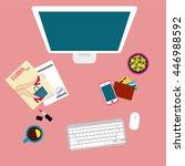 girl workplace. top view.... | Shutterstock . vector #446988592