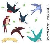 swallows on white background | Shutterstock .eps vector #446998378