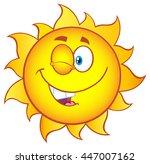 winking sun cartoon mascot...   Shutterstock .eps vector #447007162