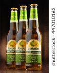 Small photo of POZNAN, POLAND - JUNE 22, 2016: Somersby cider is a brand of 4.5% abv cider produced by Danish brewing company Carlsberg Group. It is being sold in more than 46 countries.