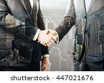 business people shaking hands... | Shutterstock . vector #447021676