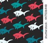 shark.vector seamless pattern...   Shutterstock .eps vector #447036448