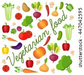 vegetable vector circle... | Shutterstock .eps vector #447042595