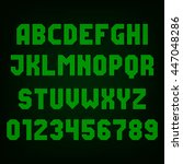 green led digital display font. ... | Shutterstock .eps vector #447048286