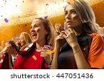 stadium soccer fans emotions... | Shutterstock . vector #447051436