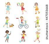 kids outdoor activities set | Shutterstock .eps vector #447053668