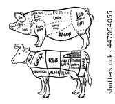 pork and beef cuts diagram and...   Shutterstock .eps vector #447054055