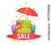 monsoon sale banner with color... | Shutterstock .eps vector #447056848