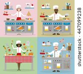 chefs cooking set. chefs with... | Shutterstock .eps vector #447099238