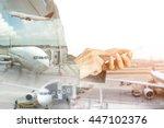 double exposure of businessman... | Shutterstock . vector #447102376