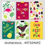 set of six summer greeting... | Shutterstock .eps vector #447104692