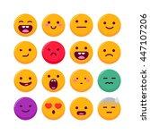set of emoticons  vector emoji... | Shutterstock .eps vector #447107206
