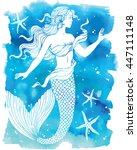 beautiful mermaid outline...   Shutterstock .eps vector #447111148
