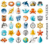 Sea Summer Travel Icon Set Wit...
