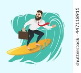 businessman on a wave | Shutterstock .eps vector #447118915