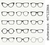 glasses silhouette vector set....