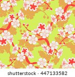 a Japanese style seamless tile with a cherry tree branch and flowers pattern in green and red shades
