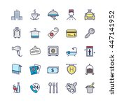 hotel icons  vector thin line... | Shutterstock .eps vector #447141952