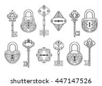 vintage key  keyhole and lock... | Shutterstock .eps vector #447147526