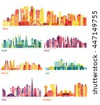 skyline detailed silhouette set ... | Shutterstock .eps vector #447149755