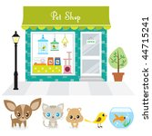 Stock vector vector illustration of a pet shop with large window display on a street also includes illustration 44715241