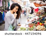 young woman shopping at the... | Shutterstock . vector #447154096