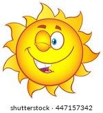 winking sun cartoon mascot...   Shutterstock . vector #447157342