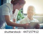 female nurse showing medical... | Shutterstock . vector #447157912