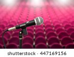 microphone on blank red seat  ... | Shutterstock . vector #447169156