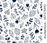 floral doodle seamless pattern...   Shutterstock .eps vector #447175492