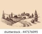 farm landscape etch ... | Shutterstock .eps vector #447176095