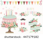 floral birthday elements | Shutterstock .eps vector #447179182