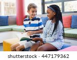 school kids sitting together on ... | Shutterstock . vector #447179362