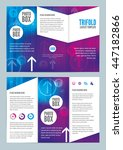 modern colorful trifold leaflet ... | Shutterstock .eps vector #447182866