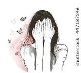 sad girl and butterflies | Shutterstock .eps vector #447187246