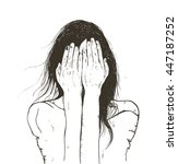 woman crying sad   Shutterstock .eps vector #447187252