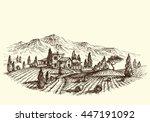 agriculture landscape. land... | Shutterstock .eps vector #447191092