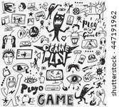 video games doodles | Shutterstock .eps vector #447191962