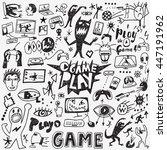 video games doodles   Shutterstock .eps vector #447191962