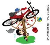 panjat pinang  pole climbing.... | Shutterstock .eps vector #447192532