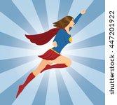 female superhero flying with... | Shutterstock .eps vector #447201922