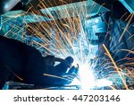 worker with protective mask... | Shutterstock . vector #447203146