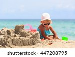 Cute Little Girl Play With Sand ...