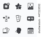 hipster photo camera icon.... | Shutterstock .eps vector #447223552