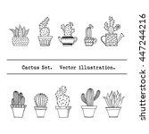 cactus set in simple hand drawn ...   Shutterstock .eps vector #447244216